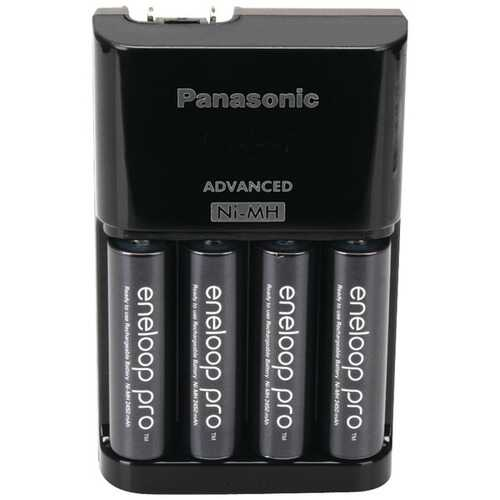 Panasonic K-KJ17KHCA4A 4-Position Charger with AA eneloop PRO Rechargeable Batteries, 4 pk
