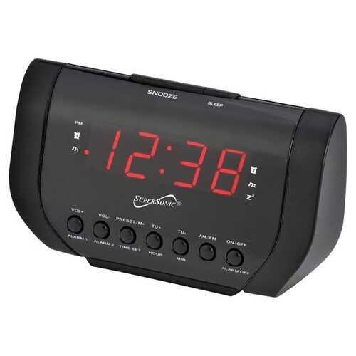 Supersonic SC-383U Dual Alarm Clock Radio with USB Charging Port