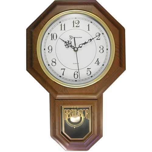 """Timekeeper 180WAGM Essex 18.75"""" Modern Pendulum Wall Clock (Faux Wood)"""