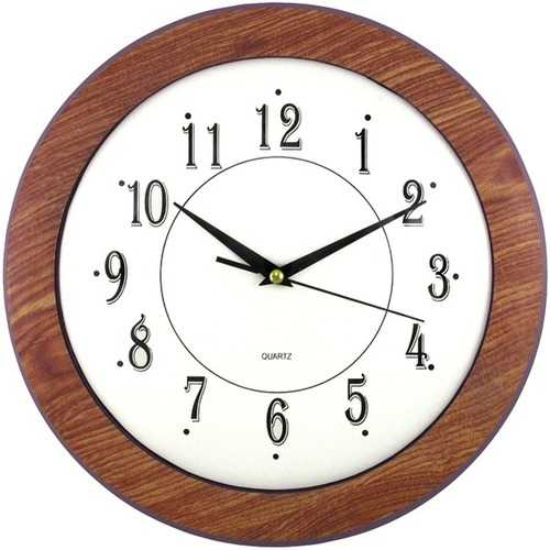"Timekeeper 6415 12"" Wood Grain Round Wall Clock"