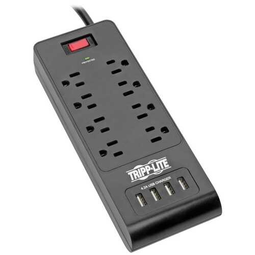 Tripp Lite TLP864USBB Protect It! 8-Outlet Surge Protector with 4 USB Ports, 6ft Cord