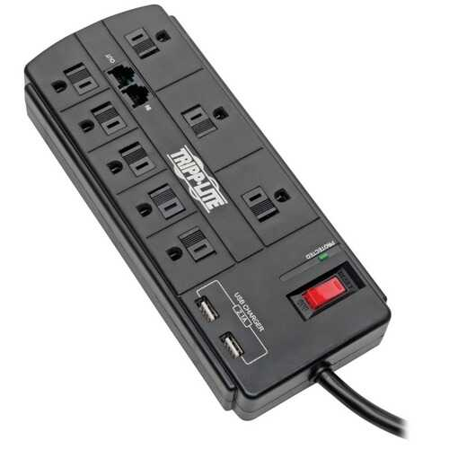 Tripp Lite TLP88TUSBB Protect It! 8-Outlet Surge Protector with 2 USB Ports , 8ft Cord (Telephone/Modem)