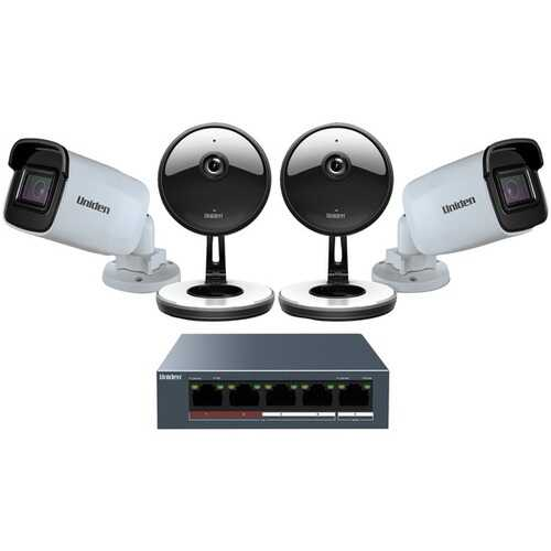 Uniden UC4202 4-Camera 1080p Indoor/Outdoor Security Cloud System with 5-Port PoE Switch