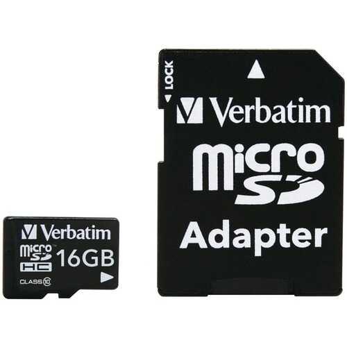 Verbatim 44082 microSDHC Card with Adapter (16GB; Class 10)