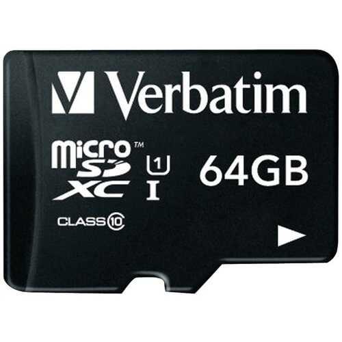 Verbatim 44084 64GB Class 10 microSDXC Card with Adapter