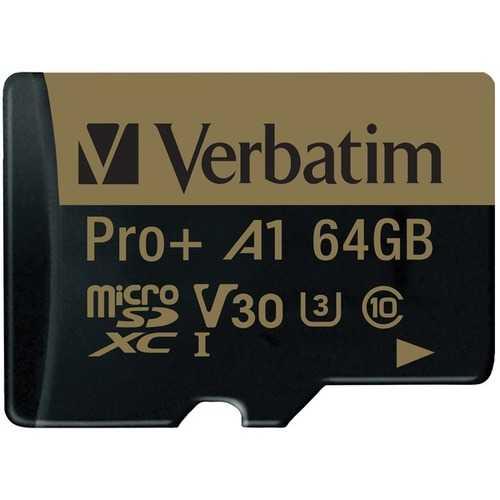 Verbatim 70002 64 GB Pro Plus 666X microSDXC Memory Card with Adapter