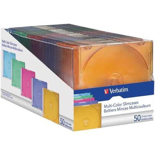 Verbatim 94178 Color CD/DVD Slim Cases, 50 pk