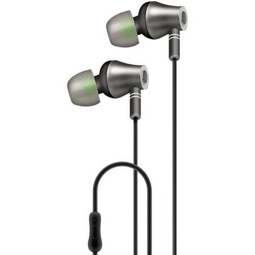 AT&T(R) E10-BLK E10 Metallic In-Ear Stereo Earbuds with Microphone (Black)
