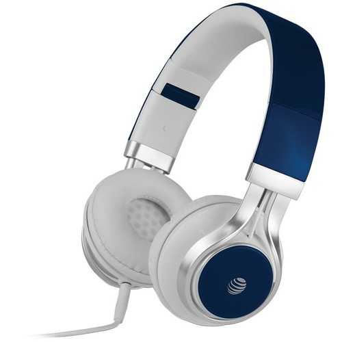 AT&T HPM10-BLU Stereo Over-Ear Headphones with Microphone (Blue)