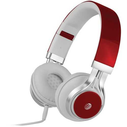 AT&T(R) HPM10-RED Stereo Over-Ear Headphones with Microphone (Red)