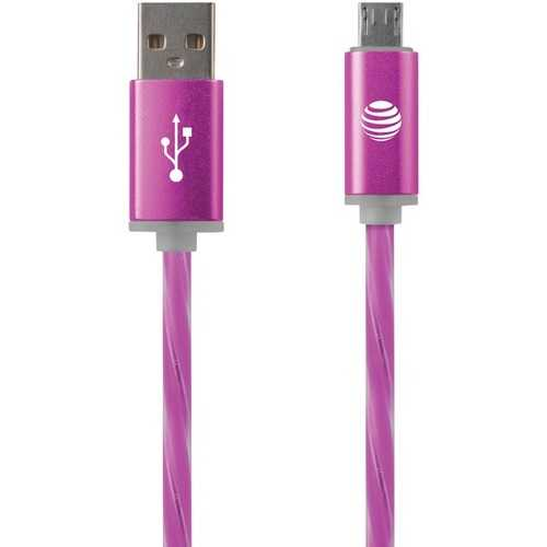 AT&T LMC03-PNK Charge & Sync Illuminated USB to Micro USB Cable, 3ft (Pink)