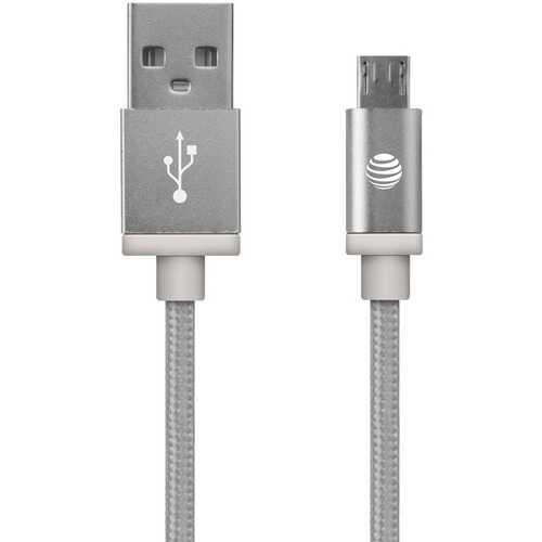 AT&T MC05-SLV Charge & Sync Braided USB to Micro USB Cable, 5ft (Silver)