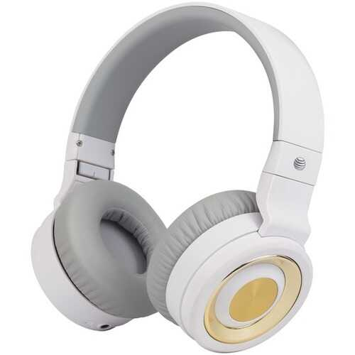 AT&T PBH20-WHT PBH20 Stereo Over-Ear Headphones with Bluetooth (White)
