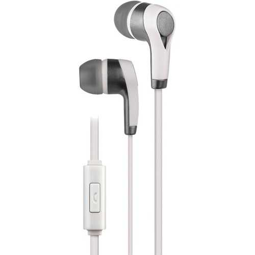 AT&T(R) PE10-WHT PE10 In-Ear Stereo Earbuds with Microphone (White)