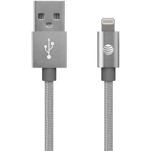 AT&T SC03B-LGT-SLV Charge & Sync Braided USB to Lightning Cable, 4ft (Silver)