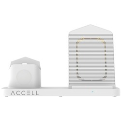 Accell D233B-001F 3-in-1 Fast-Wireless Wireless Charging Station for iPhone, Android Smartphones, Apple Watch 6/5/4/3/2, and AirPods 1/2/Pro (White)