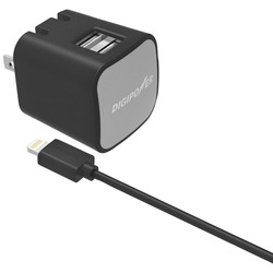 DIGIPOWER IS-AC2DL InstaSense 2.4-Amp Dual-Port Wall Charger with 5ft USB Cable & Lightning Connector