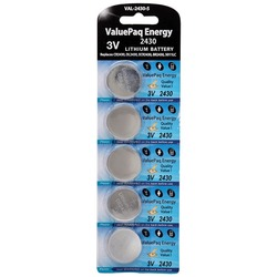 Dantona VAL-2430-5 ValuePaq Energy 2430 Lithium Coin Cell Batteries, 5 pk