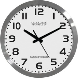 "La Crosse Technology WT-3161WH 16"" Brushed-Metal Atomic Wall Clock"
