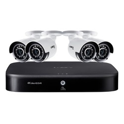 Category: Dropship Safety Equipment, SKU #LORDK18248CAE, Title: Lorex DK182-48CAE 4K Ultra HD 8-Channel Security System with 2 TB DVR and Four 4K Ultra HD Color Night Vision Bullet Cameras with Smart Home Voice Control