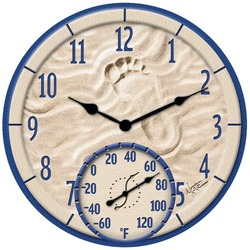 """Taylor Precision Products 91501T 14"""" Poly Resin Clock with Thermometer (By the Sea)"""