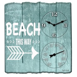 Taylor Precision Products 92685T 14-Inch x 14-Inch Beach This Way Clock with Thermometer