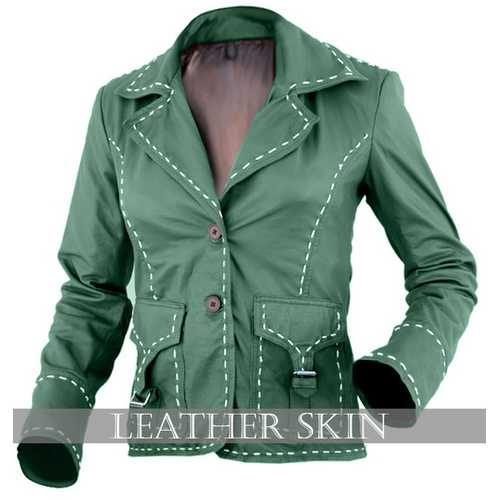 Green Women Leather Jacket