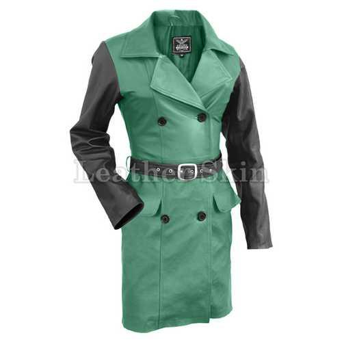 Women Green Leather Coat