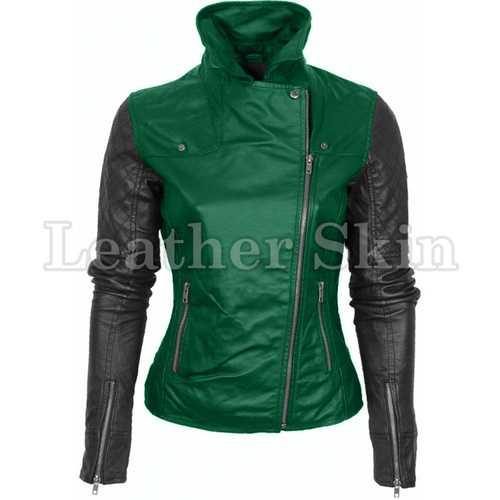 Women Green Leather Jacket