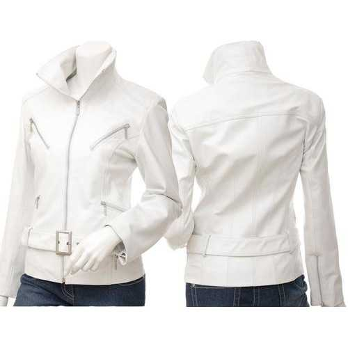 White Women Leather Jacket