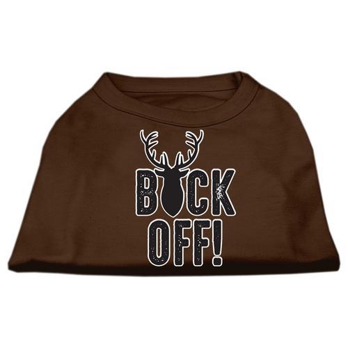 Buck Off Screen Print Dog Shirt Brown Med (12)