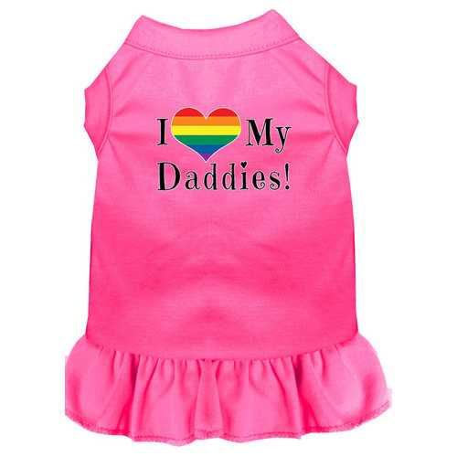 I Heart my Daddies Screen Print Dog Dress Bright Pink 4X