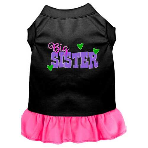 Big Sister Screen Print Dog Dress Black with Bright Pink Sm