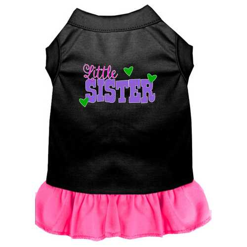Little Sister Screen Print Dog Dress Black with Bright Pink Sm