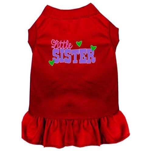 Little Sister Screen Print Dog Dress Red Med