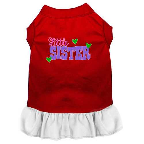 Little Sister Screen Print Dog Dress Red with White XXXL