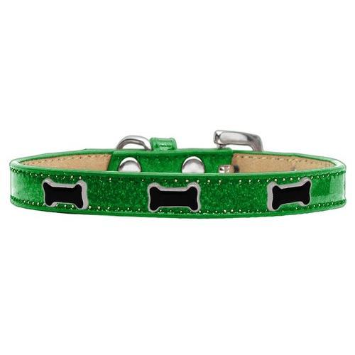Black Bone Widget Dog Collar Emerald Green Ice Cream Size 12
