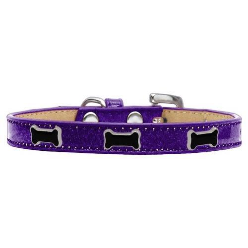 Black Bone Widget Dog Collar Purple Ice Cream Size 20