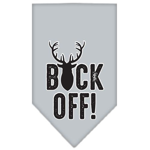 Buck Off Screen Print Bandana Grey Large