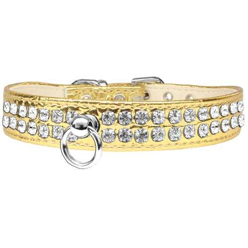 Style #72 Rhinestone Designer Croc Dog Collar Gold Size 10