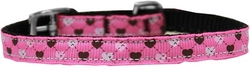 "Argyle Hearts Nylon Dog Collar with classic buckle 3/8"" Bright Pink Size 10"