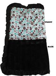 Category: Dropship New Arrivals, SKU #500-125 AqDtJB, Title: Luxurious Plush Pet Blanket Aqua Party Dots Jumbo Size
