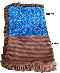 Category: Dropship New Arrivals, SKU #500-129 BlWtJB, Title: Luxurious Plush Pet Blanket Blue Western Jumbo Size