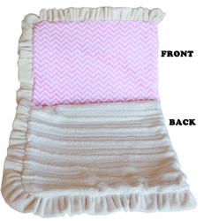 Category: Dropship New Arrivals, SKU #500-130 PkChJB, Title: Luxurious Plush Pet Blanket Pink Chevron Jumbo Size