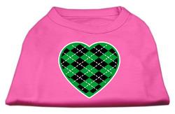 Argyle Heart Green Screen Print Shirt Bright Pink Lg (14)