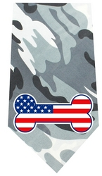 America Bone Flag Screen Print Bandana Grey Camo