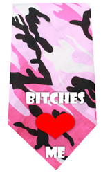 Bitches Love Me Screen Print Bandana Pink Camo