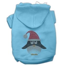 Santa Penguin Rhinestone Hoodies Baby Blue M