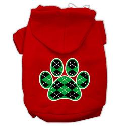 Argyle Paw Green Screen Print Pet Hoodies Red Size XXXL (20)