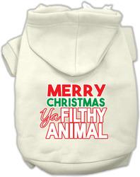 Ya Filthy Animal Screen Print Pet Hoodie Cream Lg
